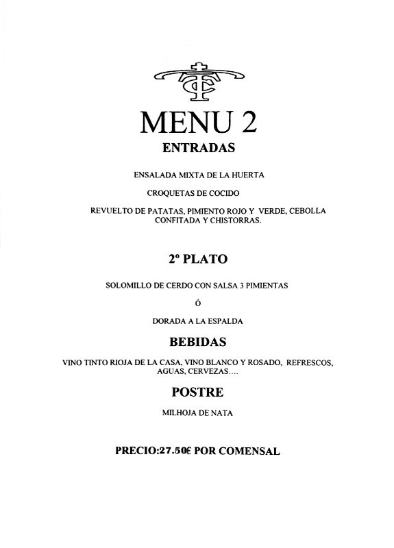 menu restautante fuengirola